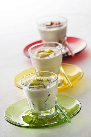 Fresh fruit milk shakes close up shoot photo