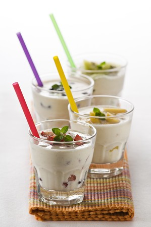 Fresh fruit milk shakes close up shoot  photo
