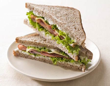 Fresh toast sandwich with ham and cheese close up shoot
