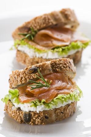 Fresh salmon sandwich on a plate close up photo