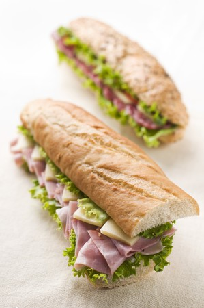 Fresh ham and cheese sandwich with salad close up photo