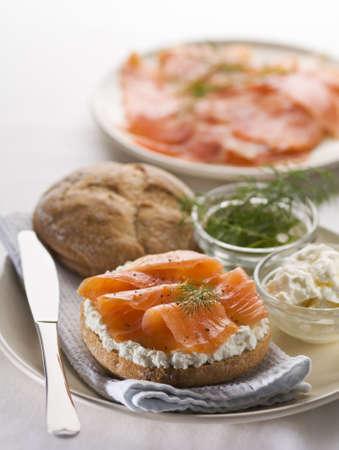 Fresh salmon sandwich on plate close up shoot photo