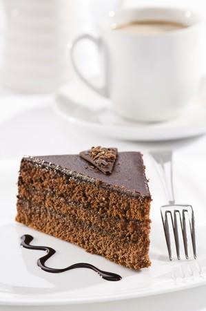 custard slice: Beautiful tasty chocolate sacher cake close up shoot