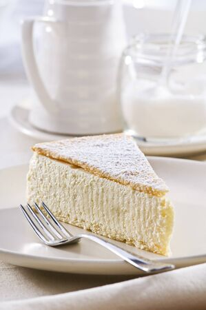 Fresh cheese cake on a plate close up shoot  Stock Photo