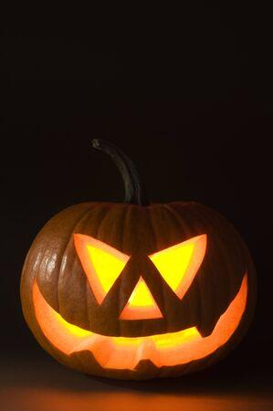 Halloween pumpkin on dark background close up shoot Stock Photo - 7965589