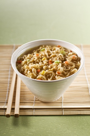 Fresh asian soup with noodles close up shoot   photo