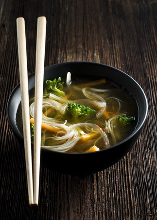 Fresh asian vegetable soup with noodles close up  photo