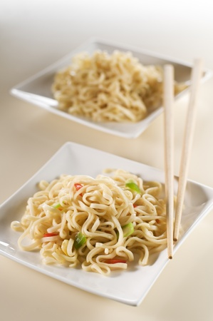 buckwheat noodle: Asian noodles with vegetables close up shoot