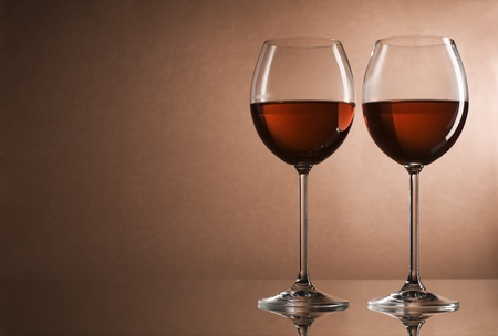 expensive food: Two glasses of red wine close up Stock Photo