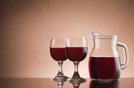 Two glasses of red wine close up  photo