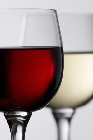 Red and white wine in glass close up shoot 