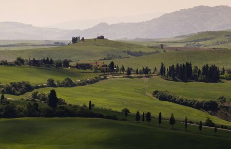 Green tuscany landscape in spring time photo