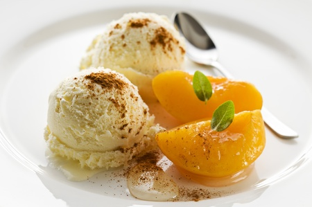 Refreshing apricot ice cream close up shoot