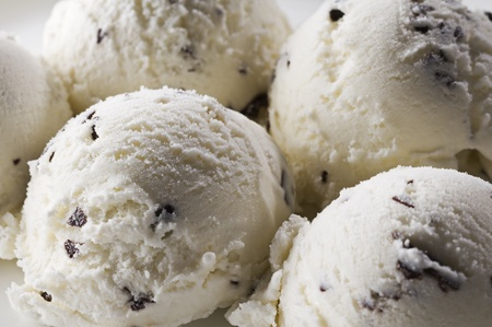 Stracciatella ice cream background close up shoot