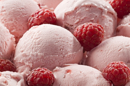 Fresh raspberry ice cream close up shoot