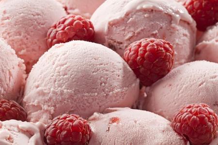 Fresh raspberry ice cream close up shoot