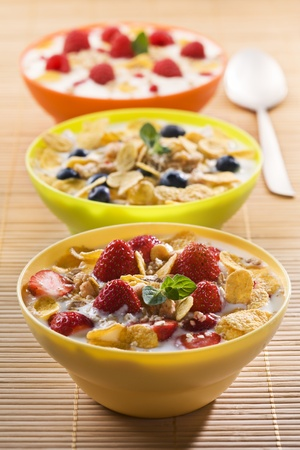 Corn flakes with berries and milk close up photo