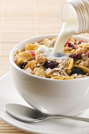 muesli: Fresh corn flakes, muesli and milk close up   Stock Photo