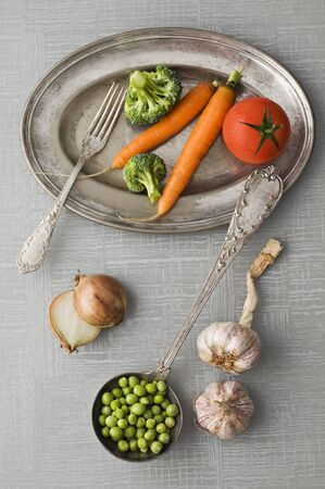 Raw vegetables vintage background close up shoot photo