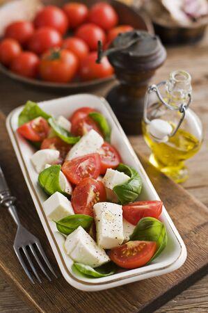 caprese salad: Fresh caprese salad vintage style close up Stock Photo