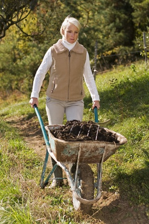 manure: Young woman with wheelbarrow working close up