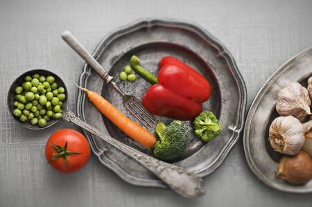 organic food: Raw vegetables vintage background close up shoot Stock Photo