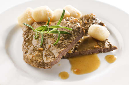 charbroiled: Fresh beef steak with gnocchi close up shoot