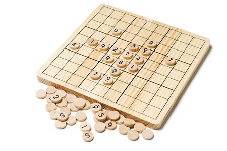 sudoku: Sudoku board game close up on white Stock Photo