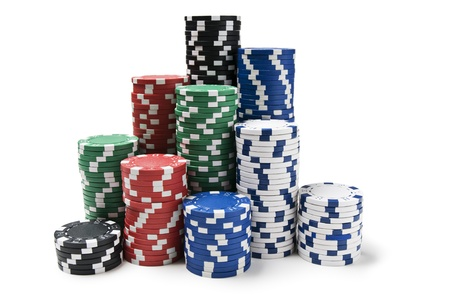 casino tokens: Gambling chips isolated on white close up