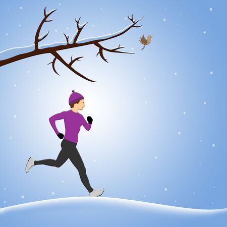 Woman running in winter time illustration background illustration