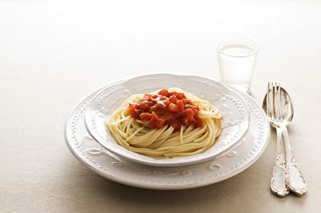 pasta fork: Spaghetti with tomato sauce close up shoot