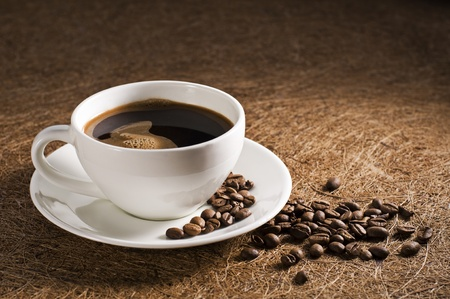 Hot cup of coffee close up shoot