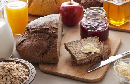 honey apple: Healthy breakfast on the table close up Stock Photo