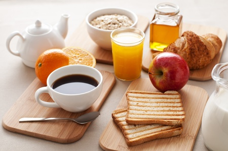 breakfast cereal: Healthy breakfast on the table close up Stock Photo