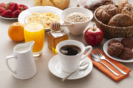 eating breakfast: Healthy breakfast on the table close up Stock Photo