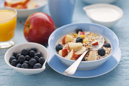 breakfast table: Healthy breakfast on the table close up Stock Photo