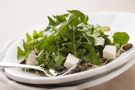 alcaparras: Ensalada de diente de le�n fresco con mozzarella, las coles y las alcaparras