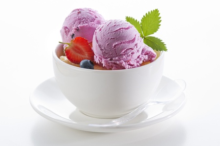 Fresh ice cream in a bowl close up shoot photo
