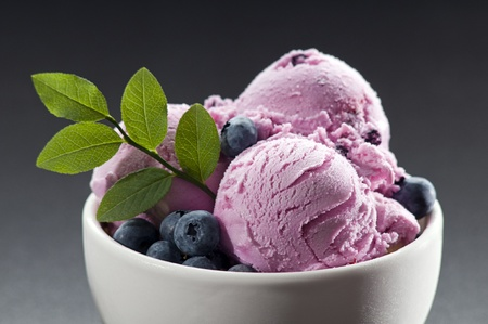 Blueberry ice cream in a bowl close up shoot photo