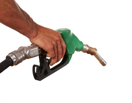 energy costs: Male hand holding green pump isolated on white Stock Photo