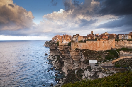 Bonifacio, old town at sea cliff, Corsica - France