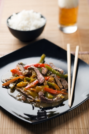 Chop suey with beef and vegetables close up photo