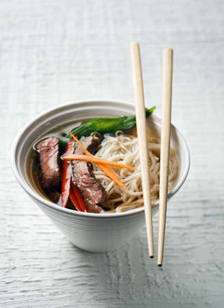 thai noodle soup: Chinese soup with beef, vegetables and noodles