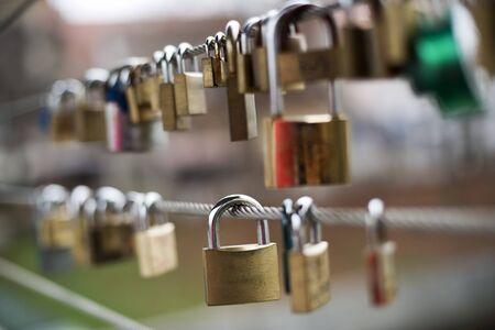 Love locks on a bridge close up shoot Stock Photo - 16840995