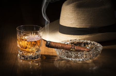 drunks: Cuban style rum and cigar close up