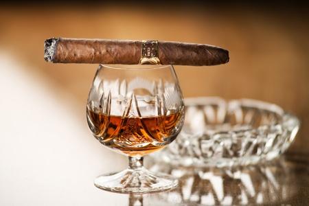 drunks: Beautiful cognac with cuban cigar close up shoot