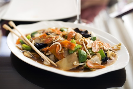 Chinese chop suey in restaurant close up shoot photo