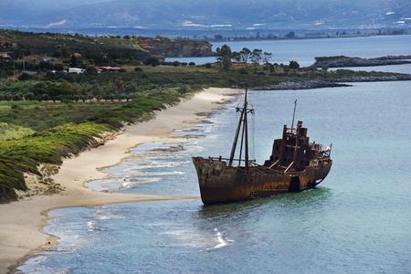 peloponnesus: Dimitrios shipwreck at Selinitsa beach near Gytheio, Greece