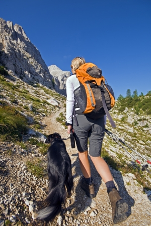 trekker: Young woman with dog on a sunny day hiking in high mountains