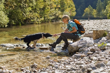 autumn dog: Young woman with dog on a sunny day hiking Stock Photo